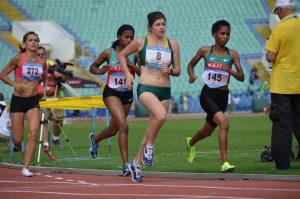 three females running